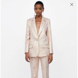 NWT ZARA Blazer Suit Jacket Jacquard Metallic Rose